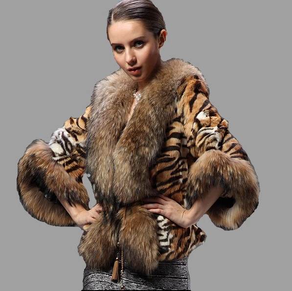 YR Lover Womens Natural Rex Rabbit Fur Coat with Raccoon Fur Collar