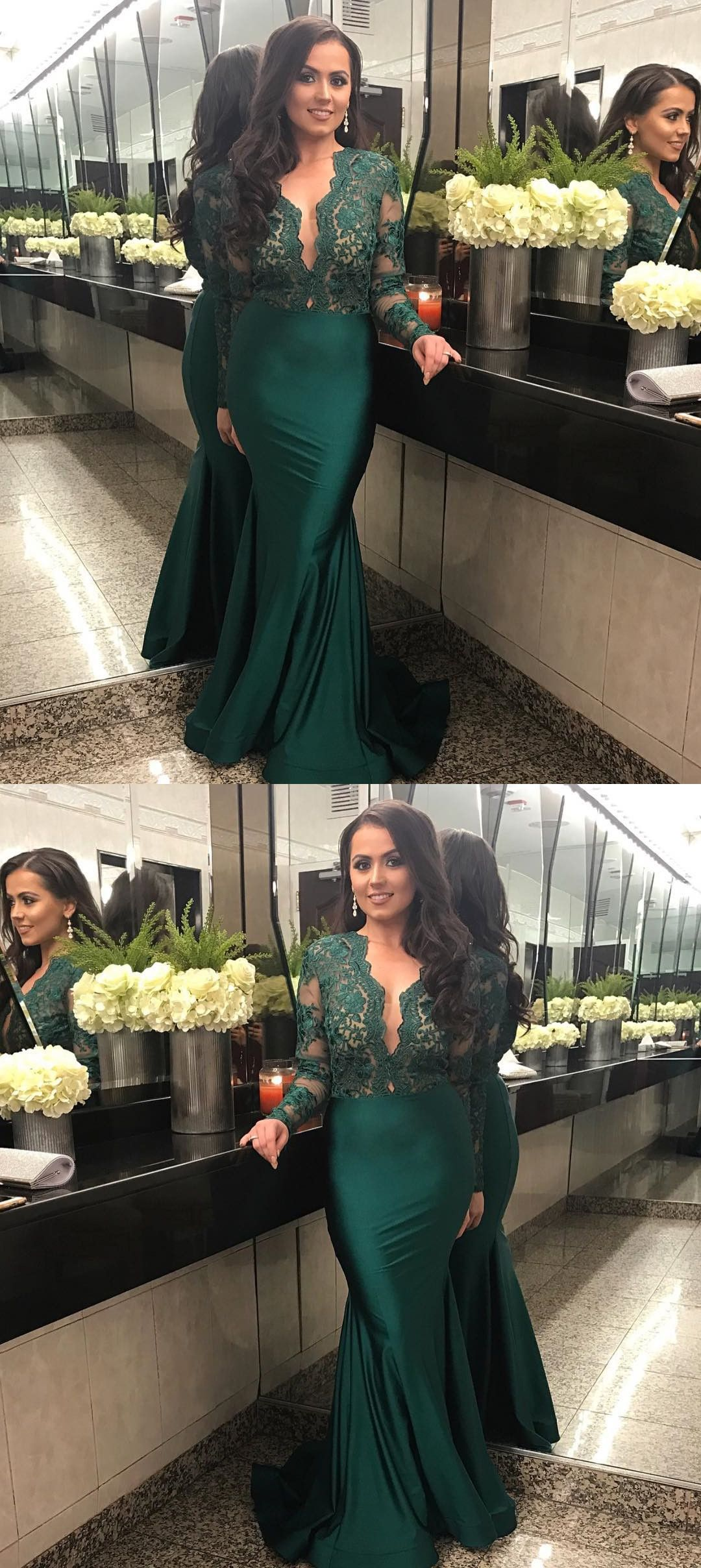 Hunter Green Prom Dress V Neck Mermaid Party Dress Satin Evening Dres Long Sleeve Bridesmaid Dress Prom Dresses Long With Sleeves Emerald Green Evening Dress [ 2416 x 1080 Pixel ]