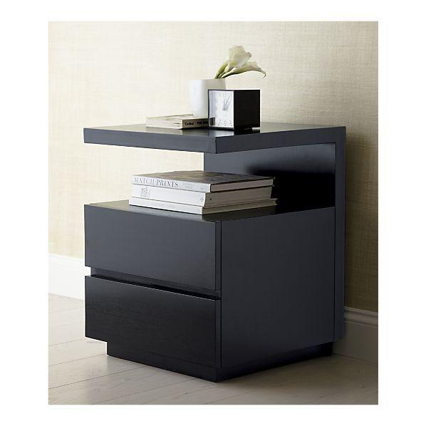 Pavillion Black Nightstand For Bedroom Cb2 Bedside Table