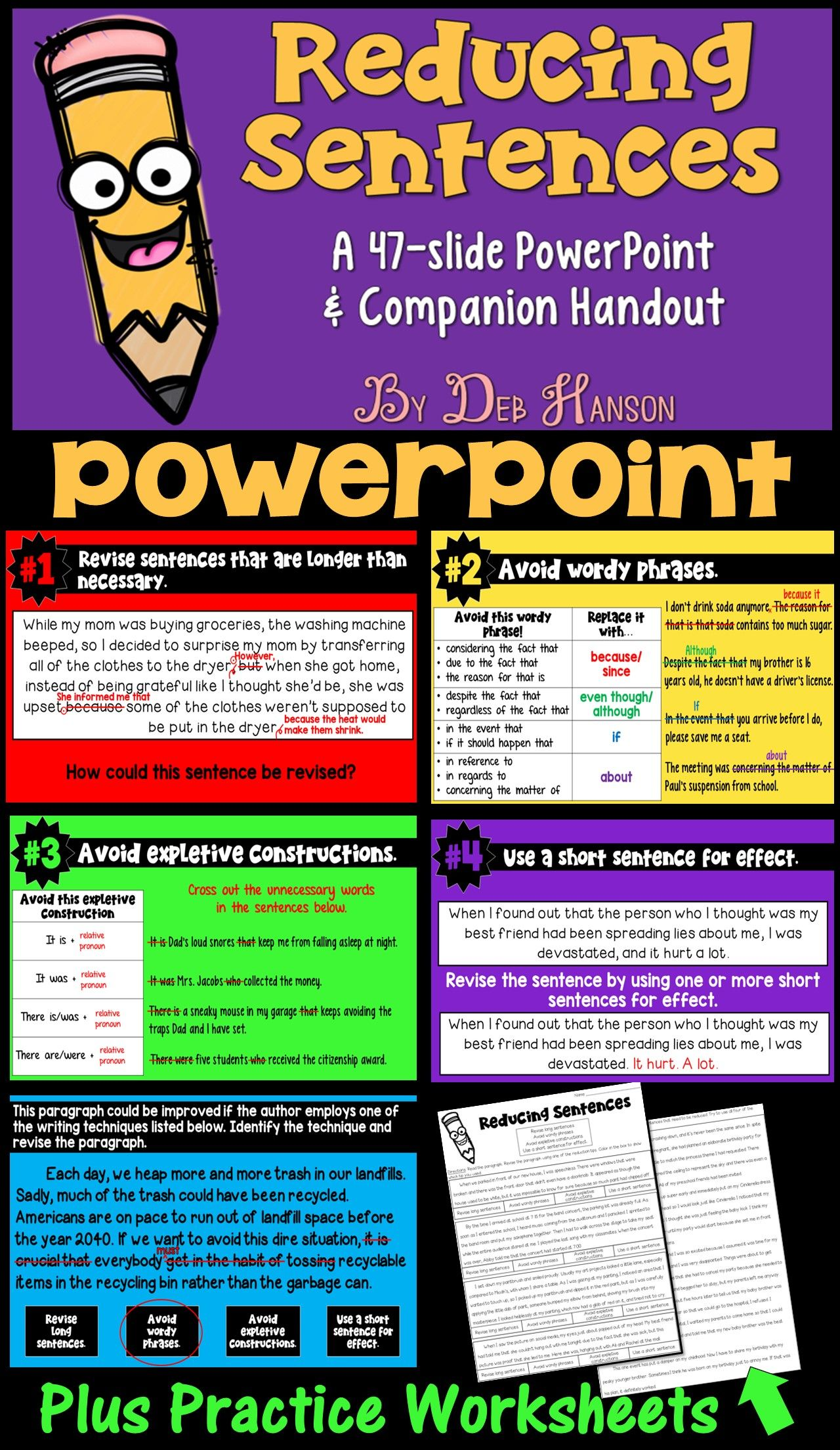 Reducing Sentences Powerpoint And Printables