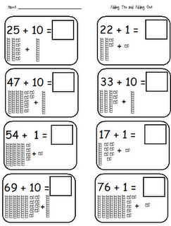 Adding 10 and 1 worksheets