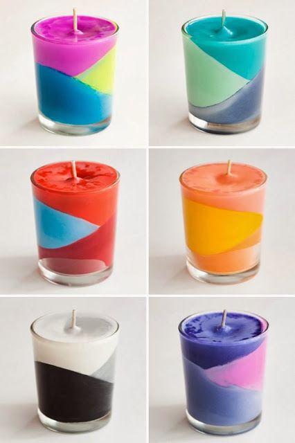Magnificas velas hechas con crayolas - Manualidades para el Hogar