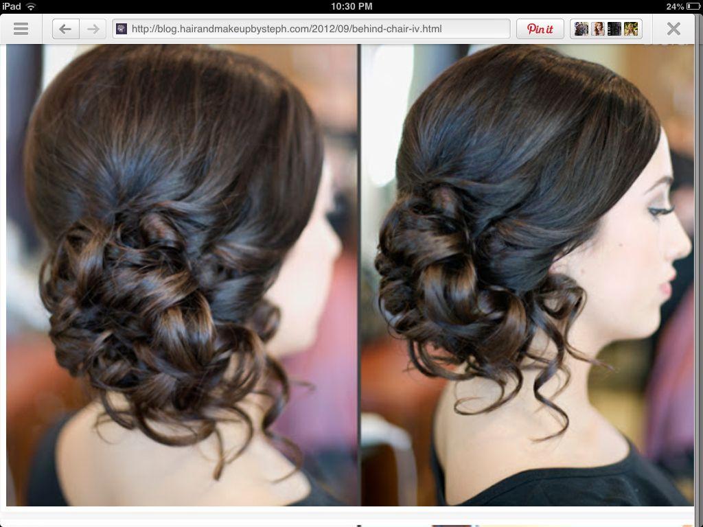 Curled side bun formal updos up do pinterest updos