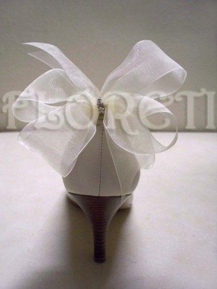 Sassy Ivory Organdy Bow Shoe Clips w Swarovski Crystals | Floreti - Wedding on ArtFire. weddings, accessories, shoes, shoe accessories, shoe clips, ivory, sheer, organdy, bow, swarovski, rhinestones, holiday, gift, bridal. $30.78