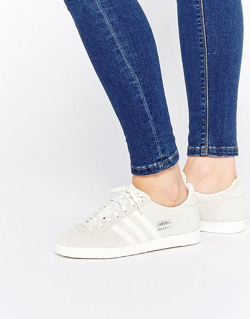 Shop adidas Originals Off White Suede Gazelle OG Trainers at ASOS.