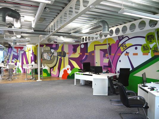 14 incredibly cool office murals | Office mural, Creative office space, Cool office space