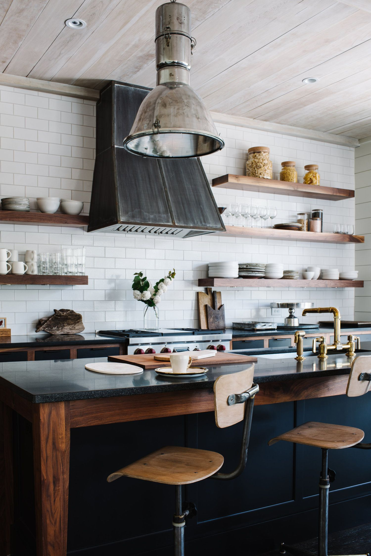 These Open Shelf Kitchen Designs Will Forever Silence Your Inner Hoarder Industrial Kitchen Design Industrial Decor Kitchen Rustic Industrial Kitchen