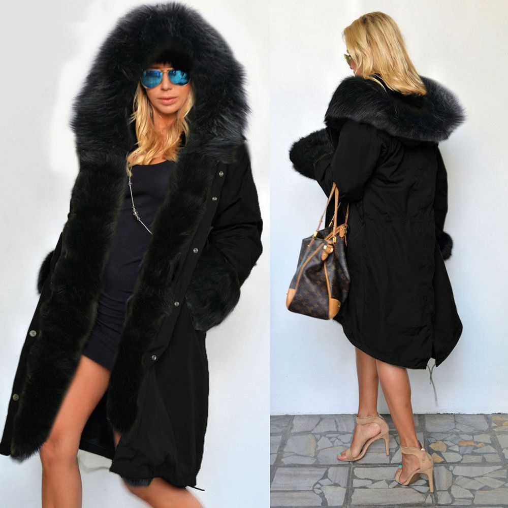 Details about Roiii NEW Womens Faux Fur Hooded Jacket Winter Warm