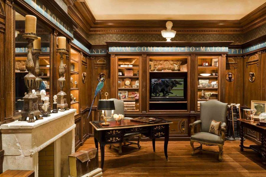 Luxurious Home Office - Wood paneling Paris France . Specializes in ...