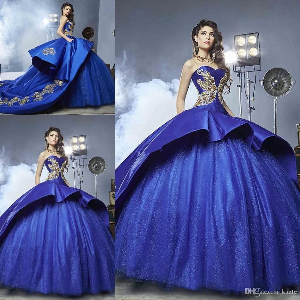 b2d96abec3 Royal Blue Cathedral Train Quinceanera Dresses 2018 Sparkly Gold ...