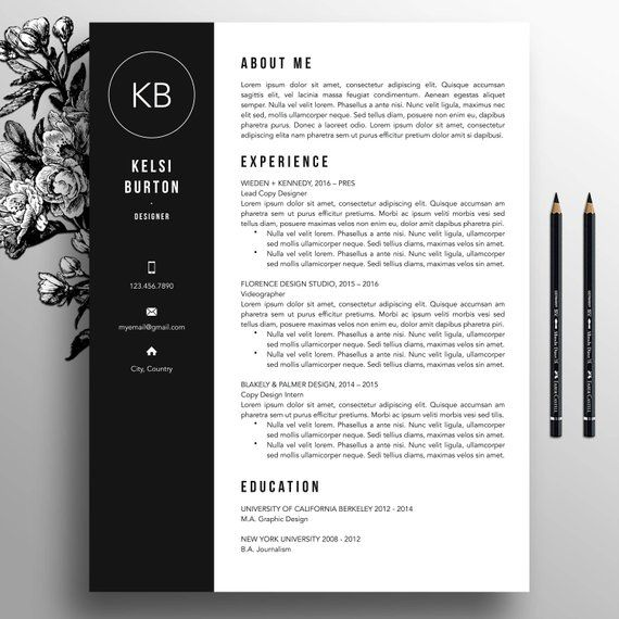 Professional Resume Template + Cover Letter Template, References, MS