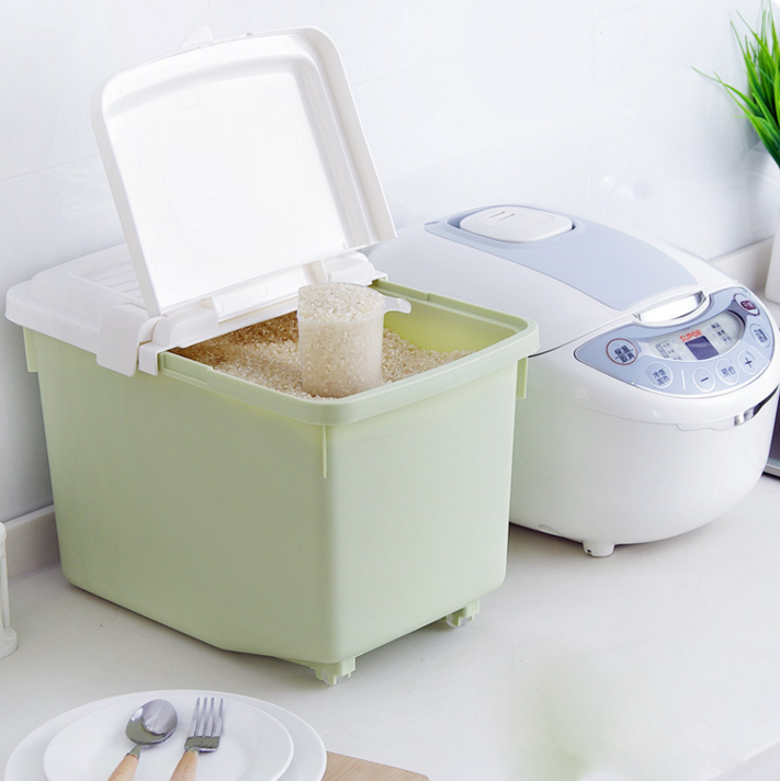 Eco Friendly Rice Box Food Dispenser Plastic Rice Storage Container With  Slip Lid For Kitchen