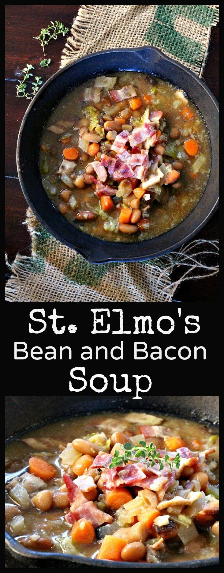 White bean soup. White beans are flavored with herbs, carrots and celery. Add some bacon and you've got a perfect soup for a crisp Fall evening.
