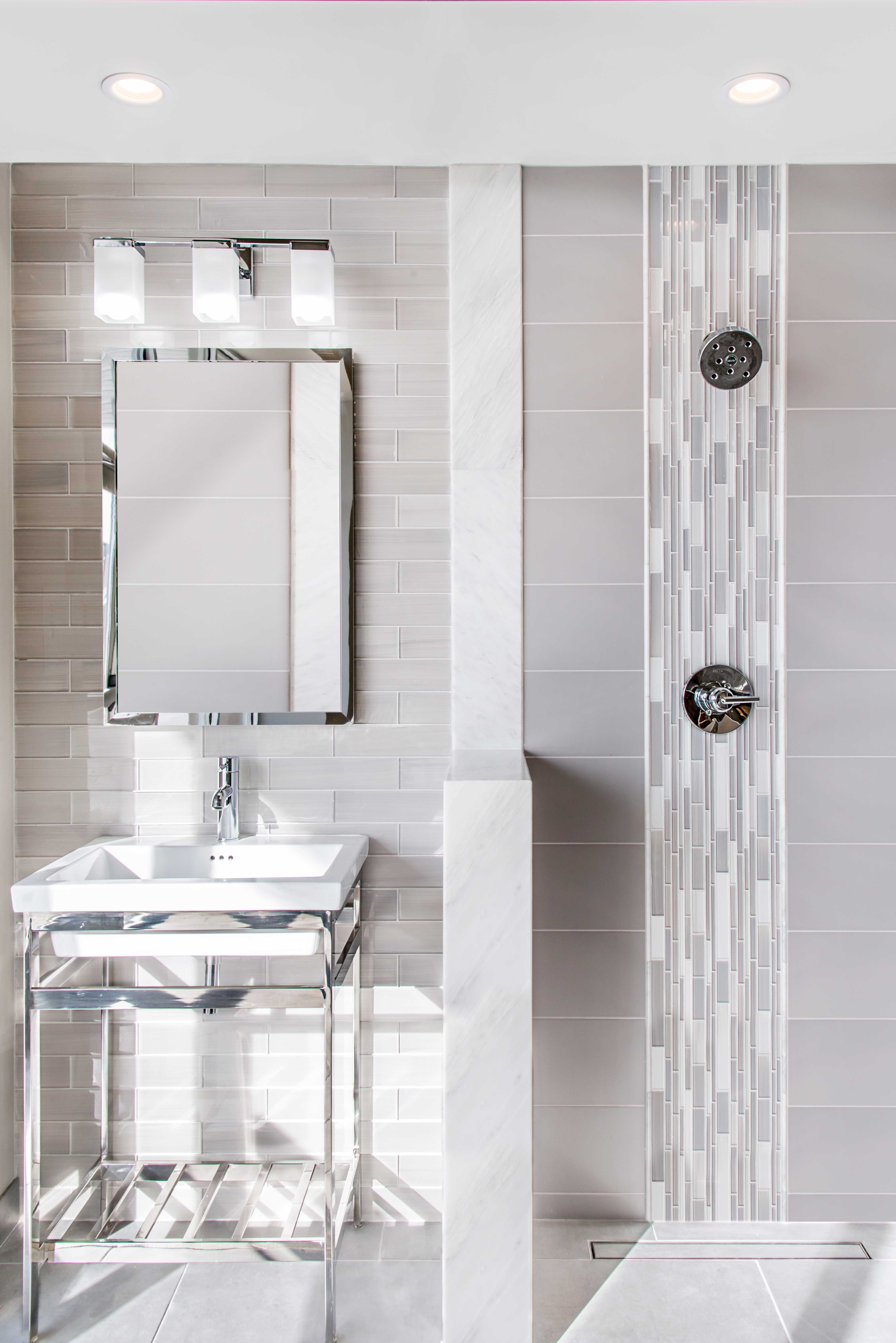 The tile shop design by kirsty georgian bathroom style - The Contemporary Style Of This Glossy Mosaic Tile Comes From A Mix Of Subtle Taupe And Bathroom Tile Designsbathroom