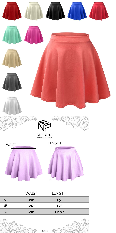 29b3702199 Skirts 63864: Womens Basic High Waisted Stretch Flared Pleated Plain ...