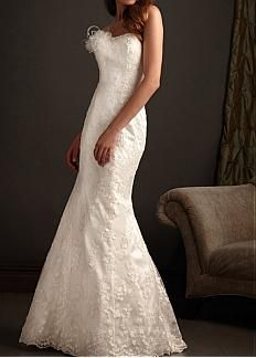 Lovely Lace Princess Strapless Scooped neckline Wedding Dress With Satin Sash and Beadings #dressilyme