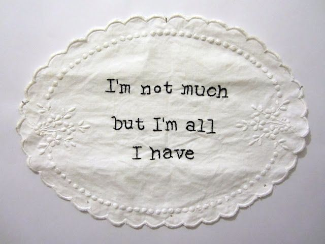 Quote from Science Fiction WriterPhilip K. Dick. Embroidered by Emma Parker.