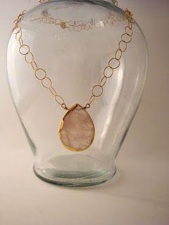Large Pink Quartz Teardrop on Large Circular Gold Filled Chain