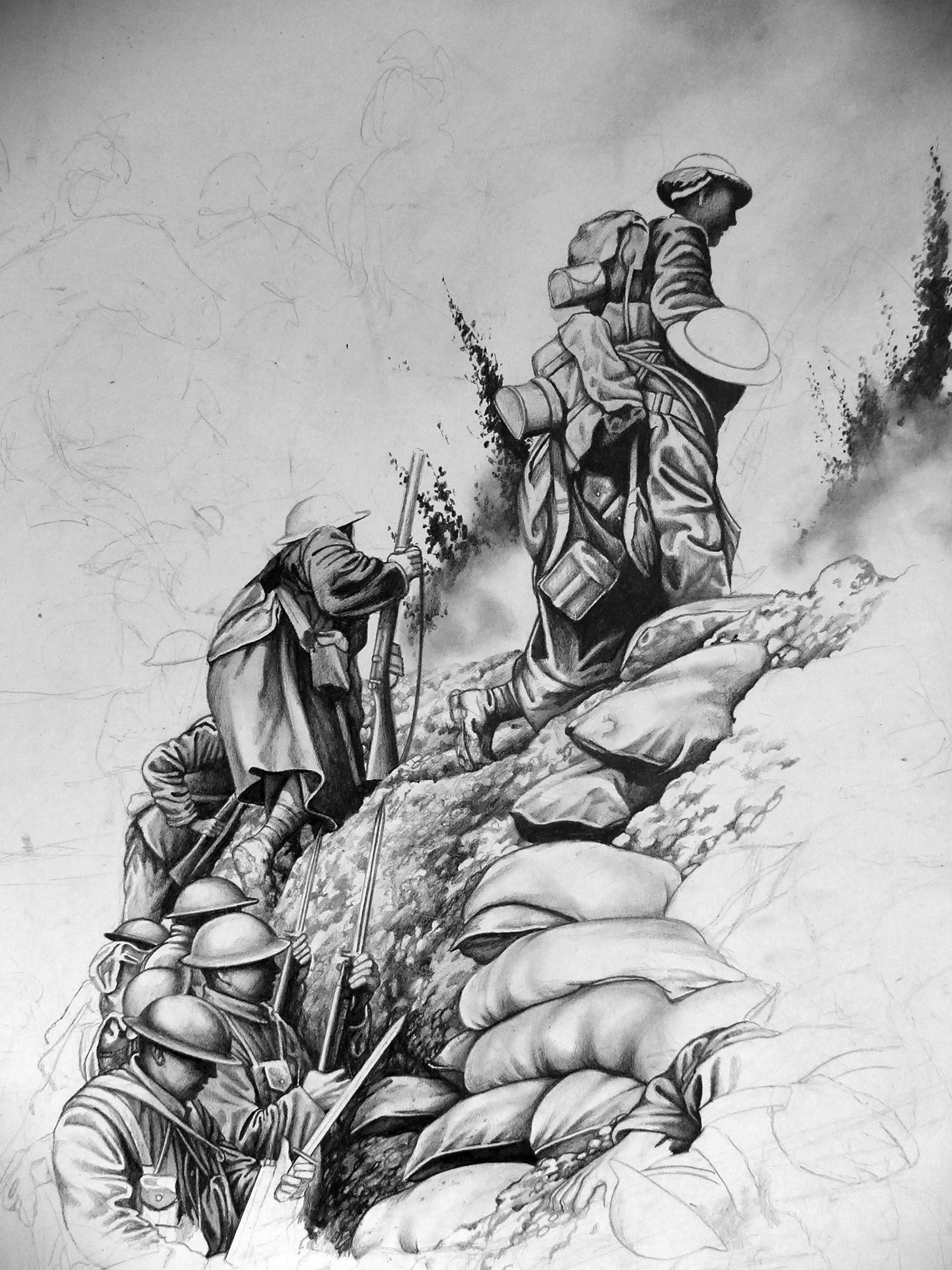 Pencil drawing of world war 1 paul ballard