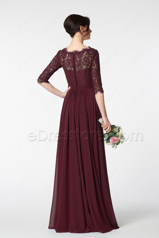 Modest dark burgundy prom dress long sleeves bridesmaids dresses