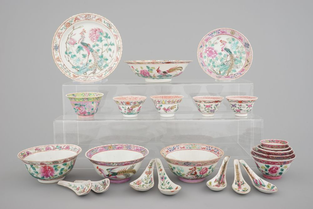 A group of Chinese famille rose Peranakan straits porcelain ware, 19/20th C.