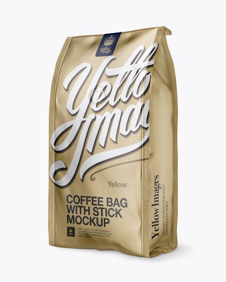 Download Matte Metallic Coffee Bag With Valve Mockup Half Side View In Bag Sack Mockups On Yellow Images Object Mockups In 2020 Mockup Free Psd Free Psd Mockups Templates Bag Mockup