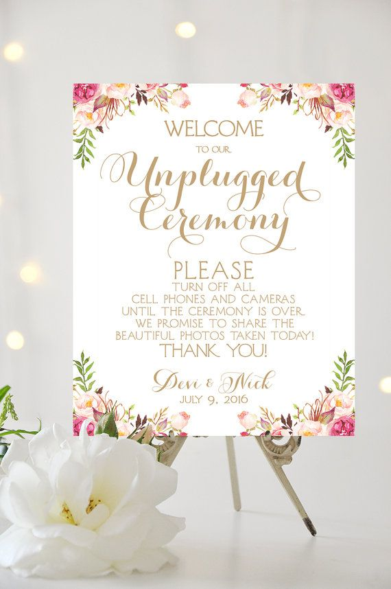 Welcome to our unplugged ceremony sign various sizes floral welcome to our unplugged ceremony sign by charmingendeavours maxwellsz