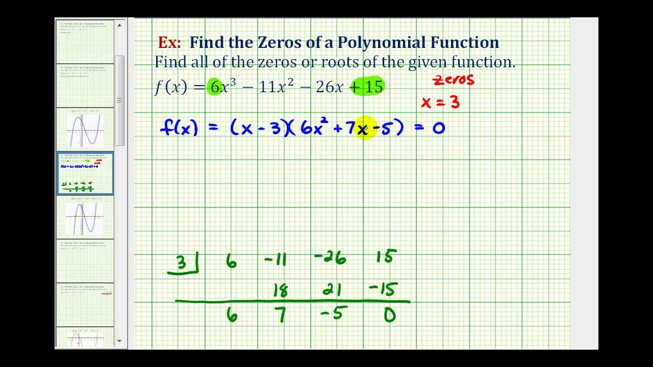 Ex 2 find the zeros of a polynomial function real