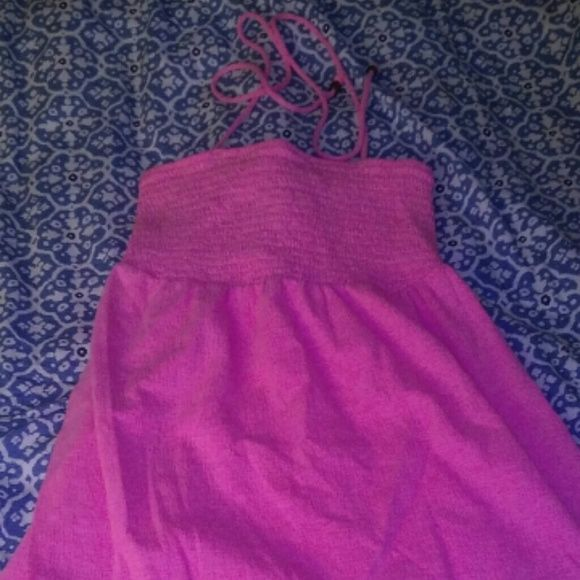 Pink halter top dress Super cute summer dress or can be worn with leggins. Pink halter top dress ties around the neck. Dresses