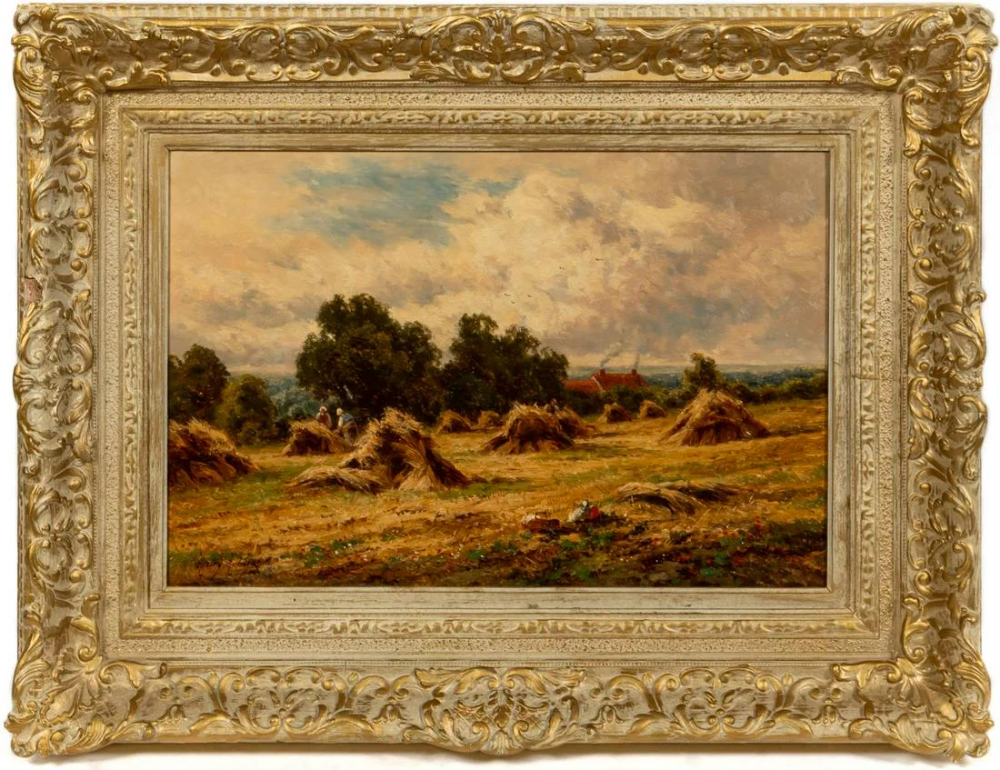 For Auction: HENRY PARKER, SURREY LANDSCAPE, OIL ON CANVAS (#0923) on Oct 25, 2020 | Ahlers & Ogletree Auction Gallery in GA