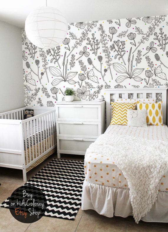 Best Black And White Nursery Wallpaper Flowers Colorful Dots 640 x 480