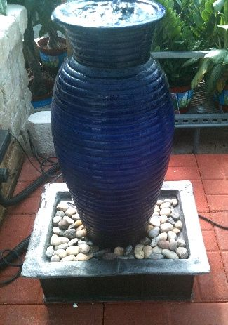 Bubbler Fountain Inspired By A Blue Ceramic Bubbler