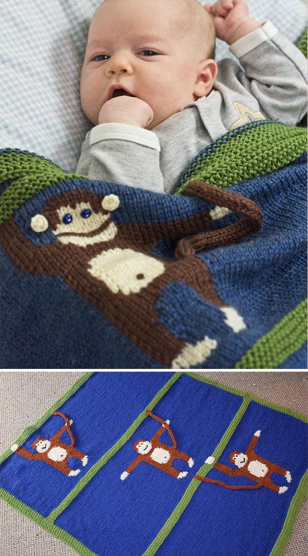 Free Knitting Pattern For Monkey Business Blanket Baby Blanket