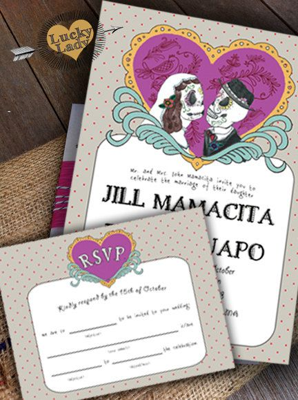 Set of 100 Dia De Los Muertos Wedding Invitations Invite and RSVP