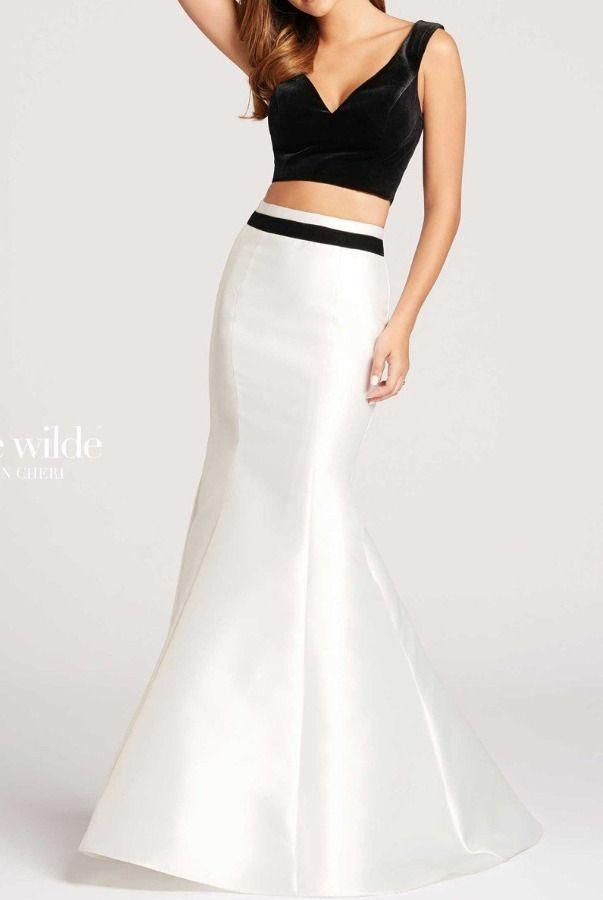 ellie wilde Black and White Velvet Mermaid 2 Piece Gown Prom ...