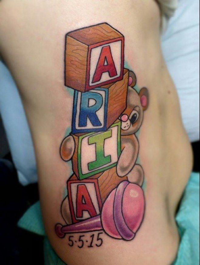 Cubos Con El Nombre Del Bebe Tattoo Tatouage Tatouage Maman En