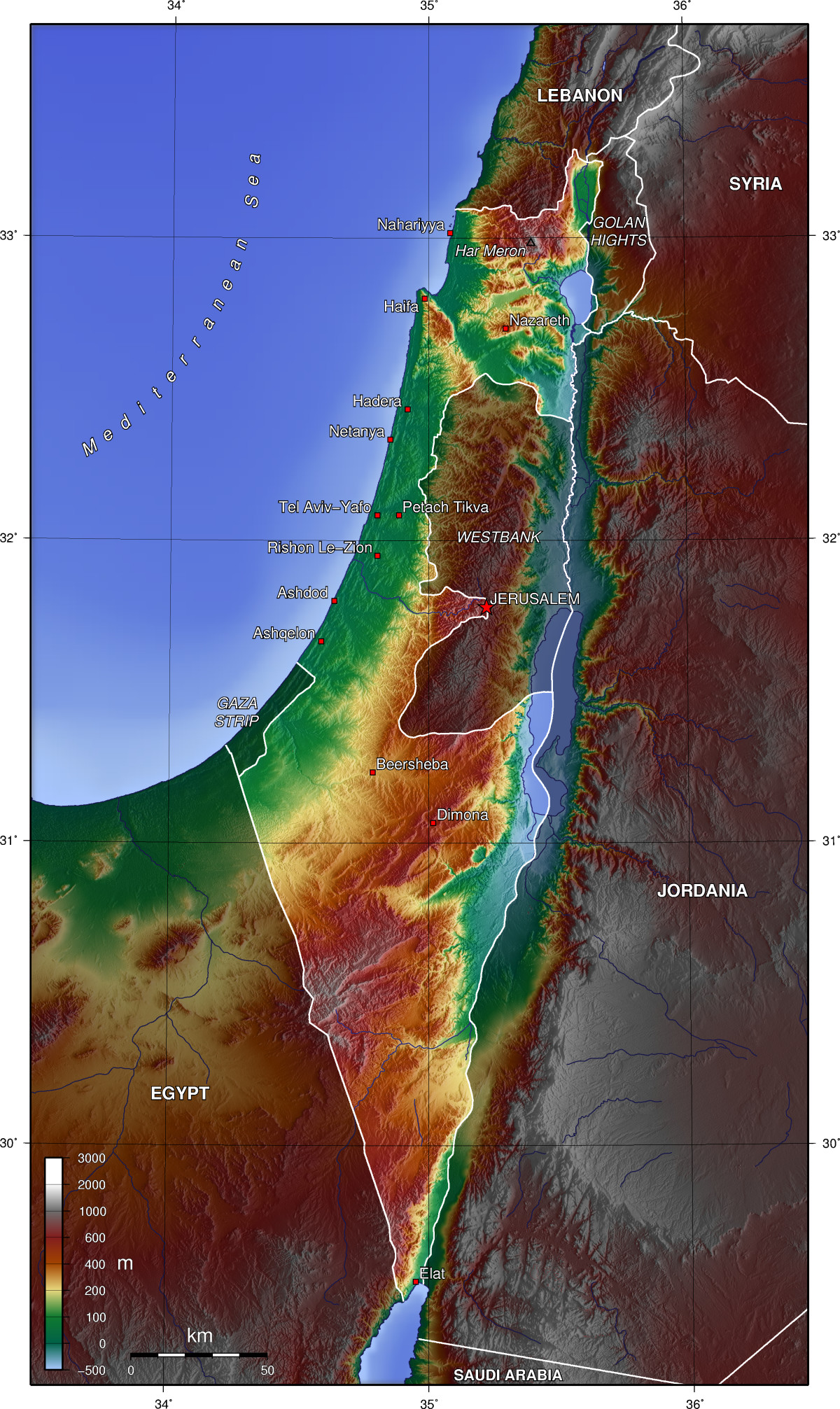 Elevation Map Of Israel Maps Pinterest Psychology Degree