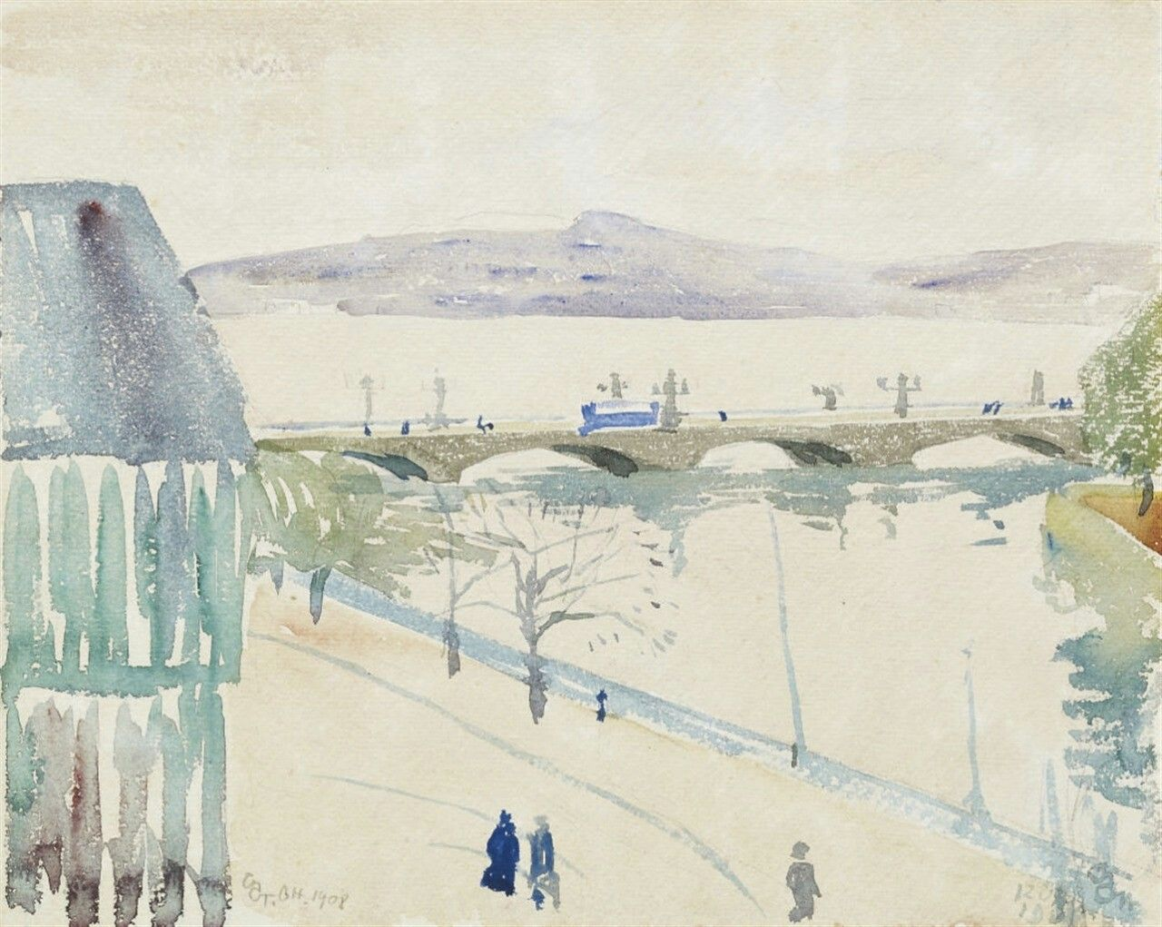 Giovanni Giacometti (Swiss, 1868-1933), Vue de Genève [View of Geneva], 1908. Watercolour on paper, 23 x 29 cm.