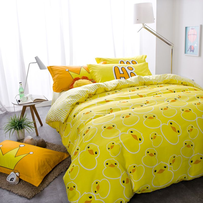 Yellow Rubber Duck Bed Cover Quilt Cover Pillowcases 100 Cotton Twin Double Queen Size Household Duvet Covers Yellow Duvet Cover Sets Queen Size Bed Sets