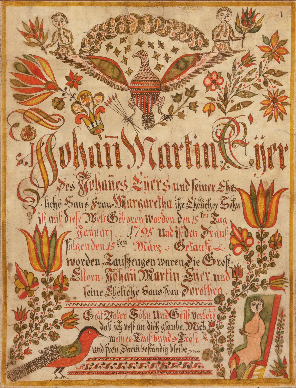 Birth and baptismal certificate for johann martin eyer attributed birth and baptismal certificate for johann martin eyer attributed to johann adam eyer hamilton pennsylvania xflitez Gallery
