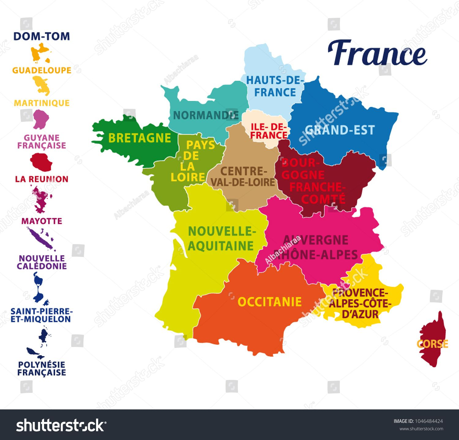 Colorful Map Of France With French Islands And New Regions French