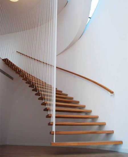 modern contemporary staircase timber wood treads stairs open wire