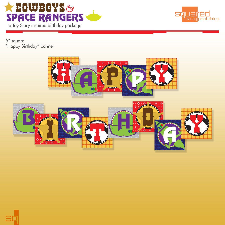Toy Story Inspired Printable Birthday Banner Diy Print Cowboys Space Rangers Via Etsy Jpg 1500x1500