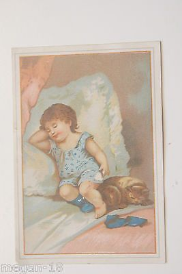 Vintage 1800's Advertisement Trade Cards GIRL WITH HER CAT IN BED