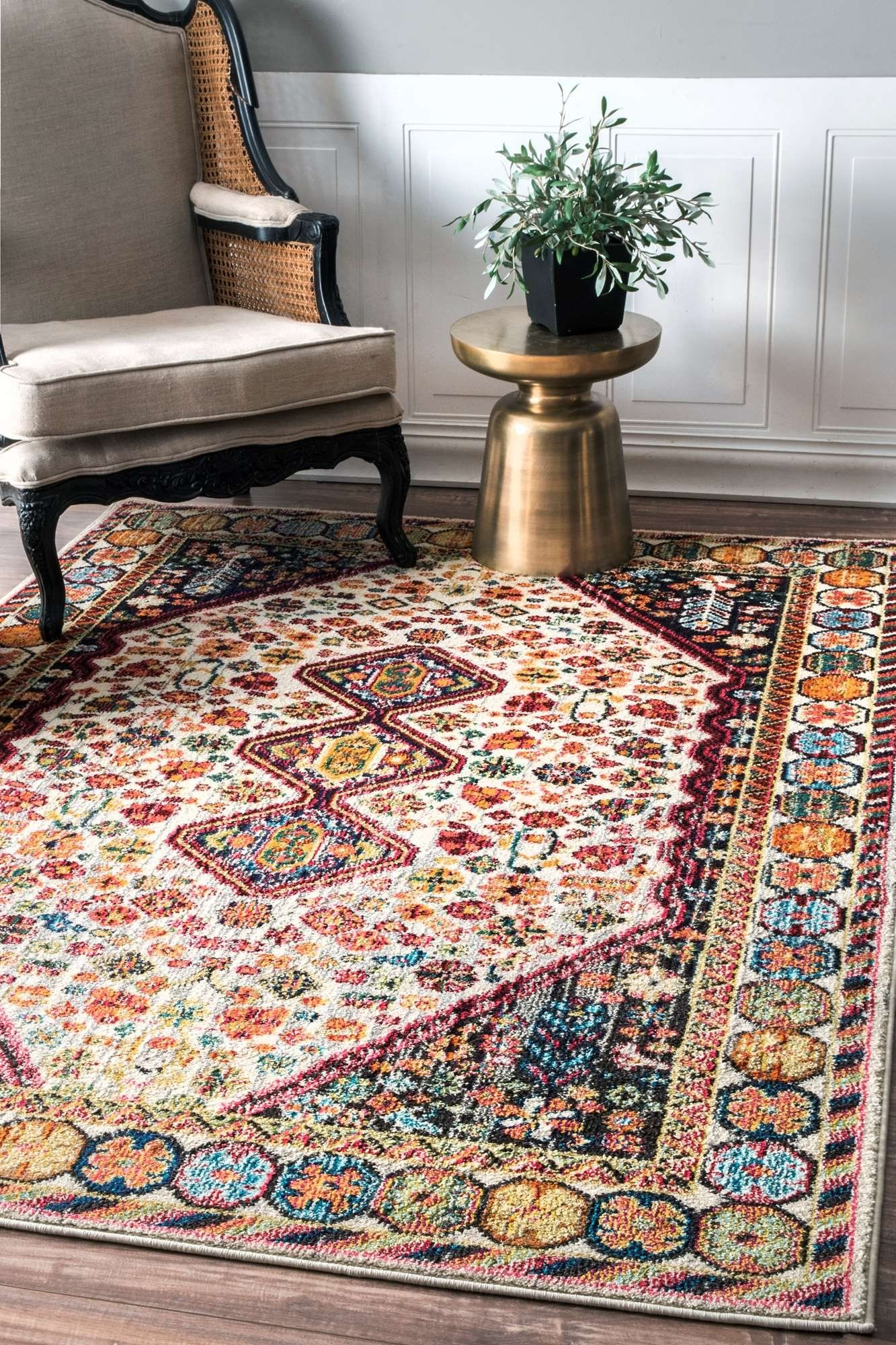 Traditional Vintage Vibrant Meadow Ivory Rugs 7 Feet 10 Inches By 11 X