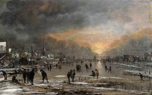 kutxx:    2.  Aert van der Neer  Sports on a Frozen River  c. 1660, oil on wood,Metropolitan Museum of Art, New York
