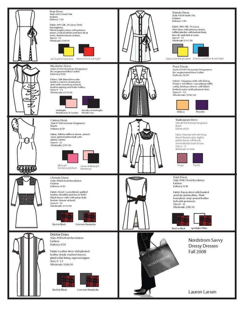 Sample Line Sheet photo: Line sheet for Geek Chic, Victorian