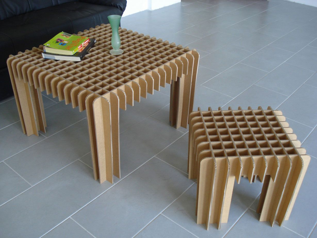 Fabulous DIY Cardboard Coffee Table Design With Two Size For Your Home  Furnitures a part of Marvelous Industrial Cardboard Chair Design By Piotr  Pacalowski ...