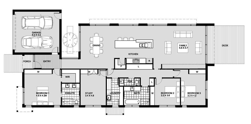 planos de casas modernas con 4 habitaciones