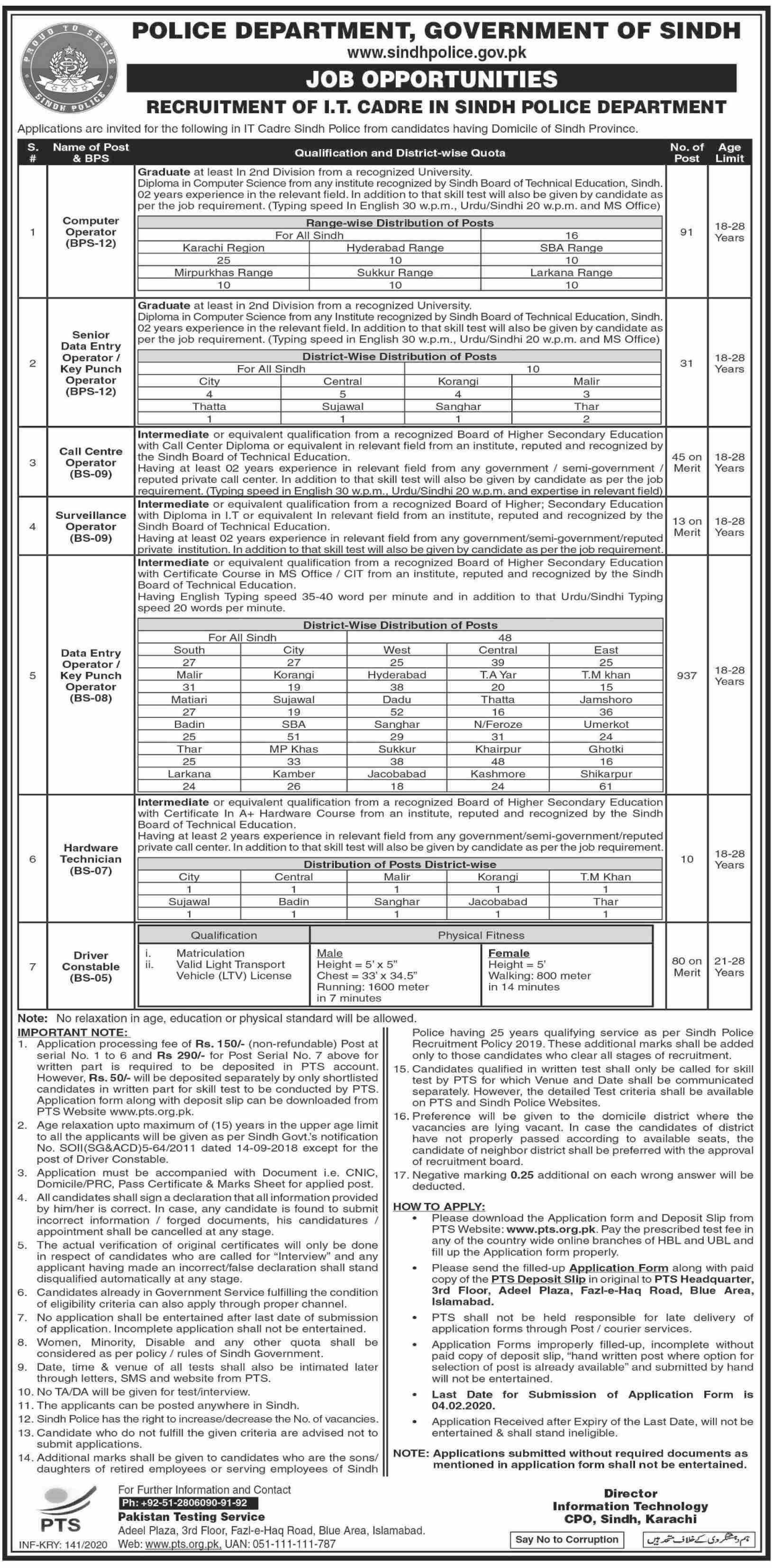 Sindh Police It Department Jobs January 2020 Application Form Pts